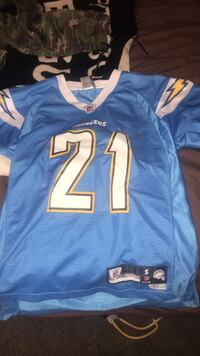 blue and white NFL jersey Langley