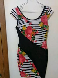 black, white, and red floral sleeveless dress Janesville