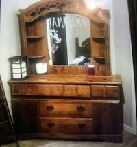 Queen bed frame, matching dress or with mirror