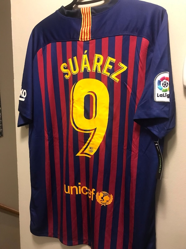 super popular 59318 a431a New With Tags Luis Suarez #9 Home Barcelona Soccer Jersey season 2018/19-  Size L & XL Available