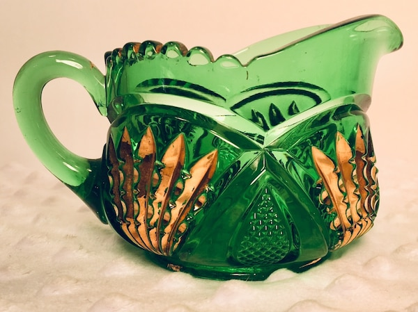 Vintage 4 pc Forrest Green Glass Creamer & Sugar Bundle ef5bda41-8312-4819-90e9-838ca6138ca8