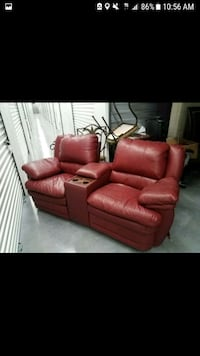 Red leather couch, double recliner North Fort Myers, 33903