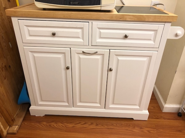 Mobile kitchen island cabinet with marble cutting board