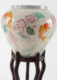 White, pink and orange floral with fishes ceramic vase Saint Stephen, 56375