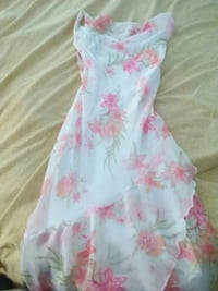 white and pink floral tube-neckline maxi dress