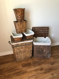two brown wicker baskets with white ceramic bowl Edmonton, T6M