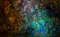 Acrylic /wood 90cmx55cm metallics in green blues  Vancouver, V6Z 1L2