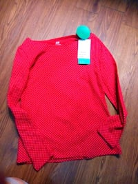 red and white Nike long sleeve shirt