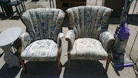 two brown wooden framed gray padded armchairs Burleson, 76028