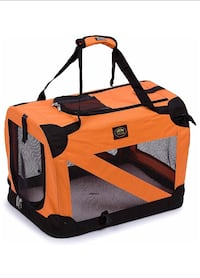 Zippered Soft Folding Collapsible Durable Metal Framed Pet Dog Crate House Carrier, X-Large, Orangep Toronto, M3K 1H5