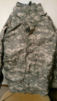 gray and white camouflage button-up jacket Racine, 53404