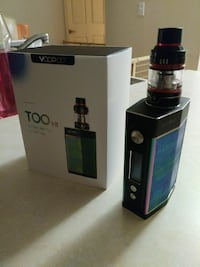 black VooPoo Too Kit box mod with tank atomizer