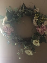 green and pink floral wreath Spring, 77389