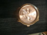 round gold chronograph watch with black leather strap Calgary, T2B 2C7