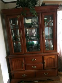 brown wooden framed glass display cabinet Southgate, 48195