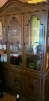 brown wooden framed glass display cabinet Brooklyn, 11207