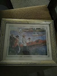 brown wooden framed painting of house Hiawatha, 52233