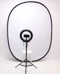 13 inch Dimmable Diva Ring Light + White Portable Background Toronto
