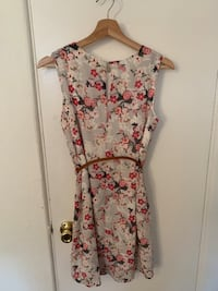 women's white and pink floral sleeveless dress 2392 mi