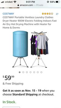 Portable Ventless Laundry Clothes Dryer New York, 11377