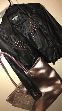 black leather rose gold studded jacket in a Small, sold with a bath and body works rose gold tote! Can be sold separately! 15.00 each of sold separately!