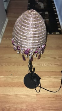 black table lamp with brown and purple lampshades 3121 km