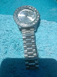 round silver-colored analog watch with link bracelet Fenton, 63026