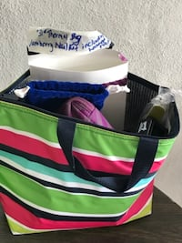 green, black, and white striped tote bag null