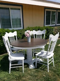 Shabby chic wood dinning table 4 chairs, sturdy!