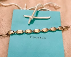 Authentic Tiffany's solid pebble oval link bracelet