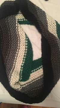 white and black knitted textile