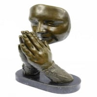 Amen Pray Bronze Sculpture on Marble Base Statue (13X9 Inches)