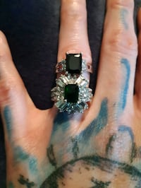 Emerald and Onyx with Cubic Zirconia Ring Set