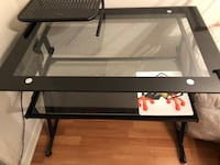black metal framed glass top TV stand Laval, H7L 5Z4