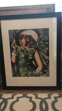 Art Deco black wooden framed woman painting