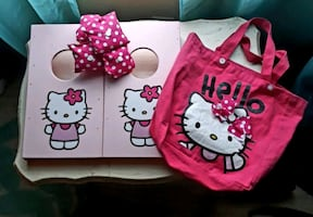Hello Kitty corn hole boards and bean bags and matching carrying tote