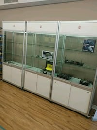 white wooden framed glass display cabinet Toronto, M6H 1L4