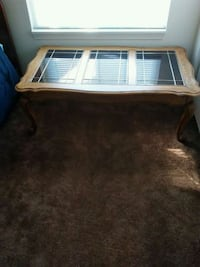 brown wooden framed glass top coffee table Morris, 60450
