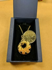 Swarovski Orange and Gold Pendant on Gold Chain Markham, L3P 7R4