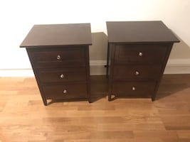 set of 2 night stands medium to dark brown
