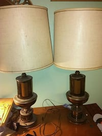 two brown wooden base table lamps DeFuniak Springs, 32433