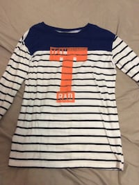 white and blue stripes crew-neck sweatshirt