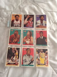 Nine assorted basketball trading cards