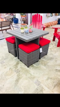 Resin wicker table with 4 stools Upland, 91786