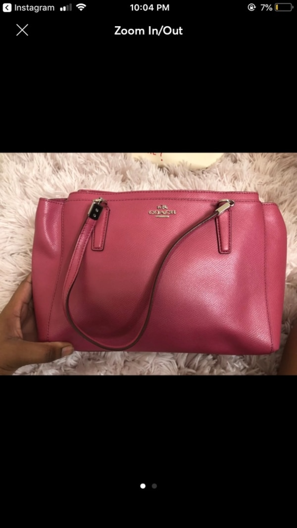 pink Coach leather tote bag