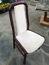 Brown wooden framed white padded armchair Columbia, 21044