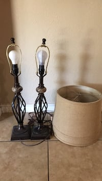 two brown wooden base table lamps Corpus Christi, 78410
