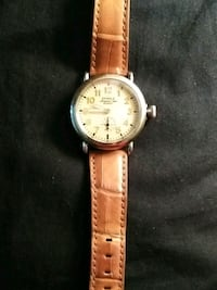 round gold-colored analog watch with brown leather strap Westland, 48186