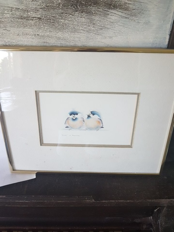 two penguin painting with frame