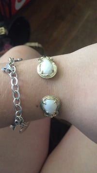 gold with white pearl bracelet
